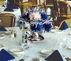 Blue and Silver Birthday Centerpiece